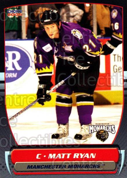 2004-05 Manchester Monarchs #14 Matt Ryan<br/>2 In Stock - $3.00 each - <a href=https://centericecollectibles.foxycart.com/cart?name=2004-05%20Manchester%20Monarchs%20%2314%20Matt%20Ryan...&quantity_max=2&price=$3.00&code=247844 class=foxycart> Buy it now! </a>