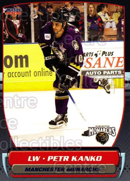 2004-05 Manchester Monarchs #18 Petr Kanko<br/>3 In Stock - $3.00 each - <a href=https://centericecollectibles.foxycart.com/cart?name=2004-05%20Manchester%20Monarchs%20%2318%20Petr%20Kanko...&quantity_max=3&price=$3.00&code=247848 class=foxycart> Buy it now! </a>