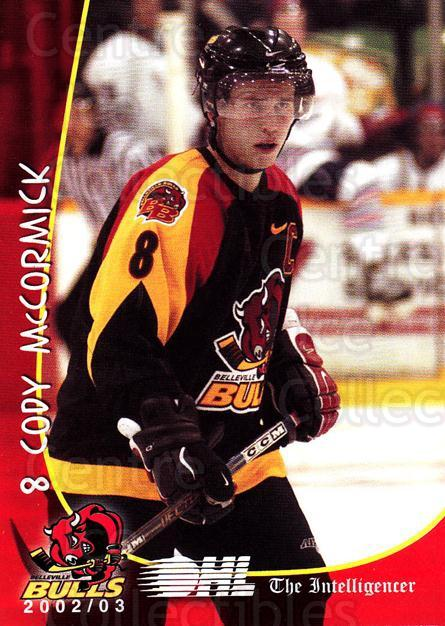 2002-03 Belleville Bulls #12 Cody McCormick<br/>1 In Stock - $3.00 each - <a href=https://centericecollectibles.foxycart.com/cart?name=2002-03%20Belleville%20Bulls%20%2312%20Cody%20McCormick...&price=$3.00&code=247859 class=foxycart> Buy it now! </a>