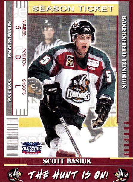 2005-06 Bakersfield Condors #7 Scott Basiuk<br/>3 In Stock - $3.00 each - <a href=https://centericecollectibles.foxycart.com/cart?name=2005-06%20Bakersfield%20Condors%20%237%20Scott%20Basiuk...&quantity_max=3&price=$3.00&code=247955 class=foxycart> Buy it now! </a>