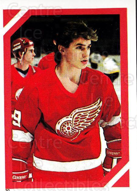 1985-86 O-Pee-Chee Stickers #030-0 Steve Yzerman<br/>1 In Stock - $5.00 each - <a href=https://centericecollectibles.foxycart.com/cart?name=1985-86%20O-Pee-Chee%20Stickers%20%23030-0%20Steve%20Yzerman...&price=$5.00&code=248002 class=foxycart> Buy it now! </a>