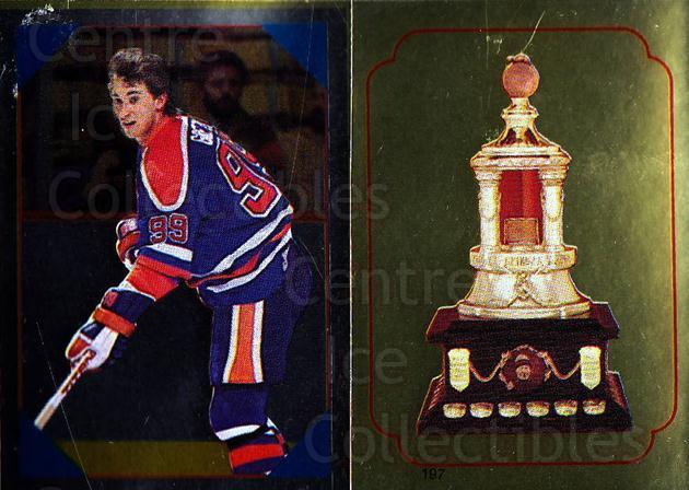 1985-86 O-Pee-Chee Stickers #054-197 Wayne Gretzky, Vezina Trophy<br/>1 In Stock - $10.00 each - <a href=https://centericecollectibles.foxycart.com/cart?name=1985-86%20O-Pee-Chee%20Stickers%20%23054-197%20Wayne%20Gretzky,%20...&quantity_max=1&price=$10.00&code=248003 class=foxycart> Buy it now! </a>