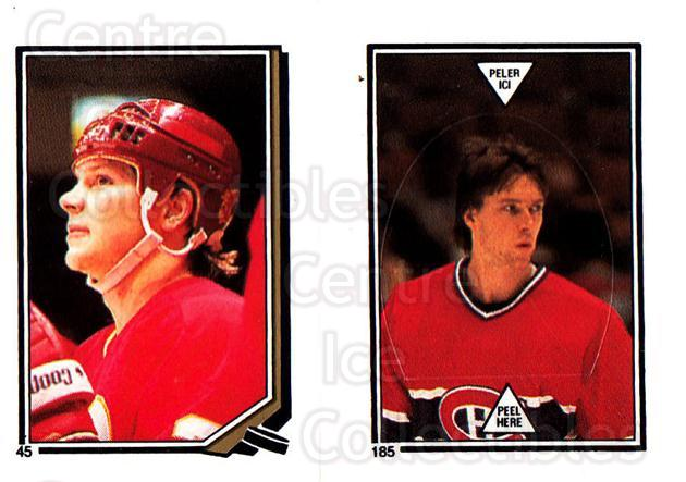 1987-88 O-Pee-Chee Stickers #045-185 Carey Wilson, Patrick Roy<br/>1 In Stock - $5.00 each - <a href=https://centericecollectibles.foxycart.com/cart?name=1987-88%20O-Pee-Chee%20Stickers%20%23045-185%20Carey%20Wilson,%20P...&quantity_max=1&price=$5.00&code=248041 class=foxycart> Buy it now! </a>