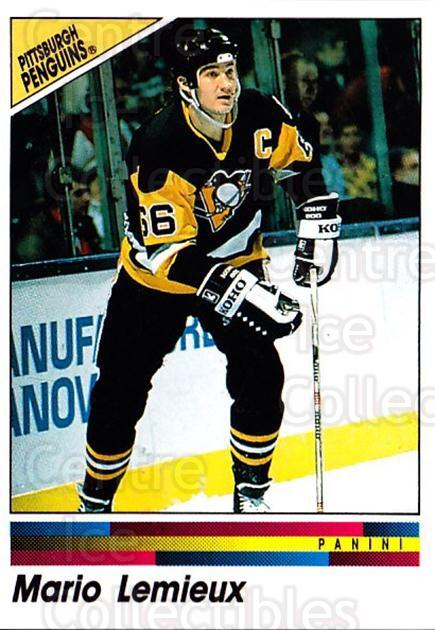 1990-91 Panini Stickers #136 Mario Lemieux<br/>8 In Stock - $2.00 each - <a href=https://centericecollectibles.foxycart.com/cart?name=1990-91%20Panini%20Stickers%20%23136%20Mario%20Lemieux...&price=$2.00&code=248064 class=foxycart> Buy it now! </a>
