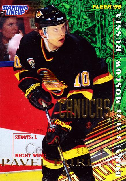 1995 Kenner Starting Lineup Cards #4 Pavel Bure<br/>3 In Stock - $5.00 each - <a href=https://centericecollectibles.foxycart.com/cart?name=1995%20Kenner%20Starting%20Lineup%20Cards%20%234%20Pavel%20Bure...&quantity_max=3&price=$5.00&code=248115 class=foxycart> Buy it now! </a>