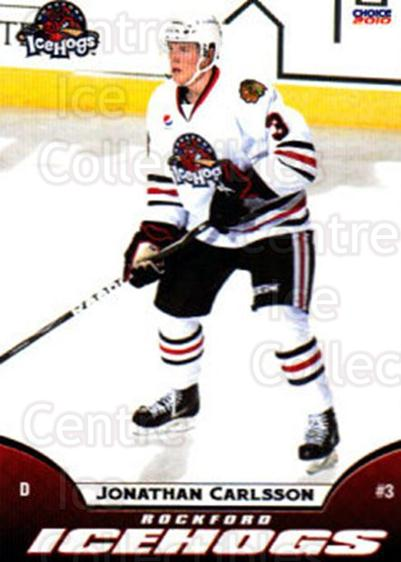 2009-10 Rockford Ice Hogs #7 Jonathan Carlsson<br/>2 In Stock - $3.00 each - <a href=https://centericecollectibles.foxycart.com/cart?name=2009-10%20Rockford%20Ice%20Hogs%20%237%20Jonathan%20Carlss...&quantity_max=2&price=$3.00&code=248147 class=foxycart> Buy it now! </a>