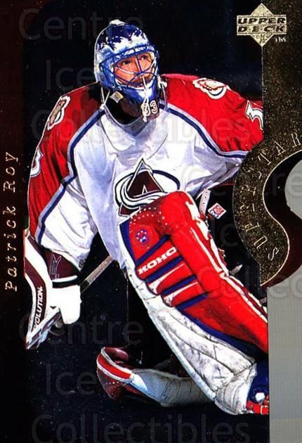 1996-97 Upper Deck Superstar Showdown #02A Patrick Roy<br/>1 In Stock - $10.00 each - <a href=https://centericecollectibles.foxycart.com/cart?name=1996-97%20Upper%20Deck%20Superstar%20Showdown%20%2302A%20Patrick%20Roy...&quantity_max=1&price=$10.00&code=248173 class=foxycart> Buy it now! </a>
