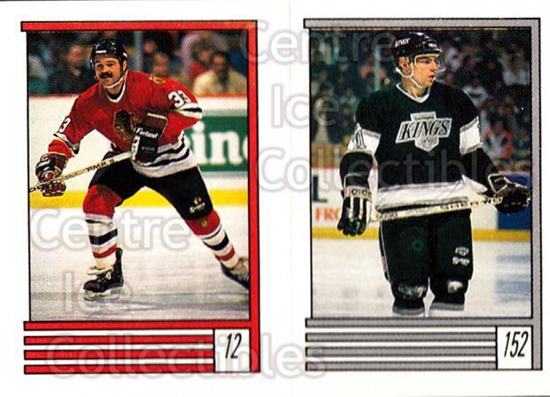 1989-90 O-Pee-Chee Stickers #012-152 Dirk Graham, Steve Kasper<br/>12 In Stock - $1.00 each - <a href=https://centericecollectibles.foxycart.com/cart?name=1989-90%20O-Pee-Chee%20Stickers%20%23012-152%20Dirk%20Graham,%20St...&quantity_max=12&price=$1.00&code=248228 class=foxycart> Buy it now! </a>