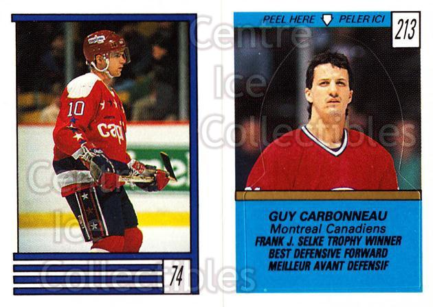 1989-90 O-Pee-Chee Stickers #074-213 Kelly Miller, Guy Carbonneau<br/>9 In Stock - $1.00 each - <a href=https://centericecollectibles.foxycart.com/cart?name=1989-90%20O-Pee-Chee%20Stickers%20%23074-213%20Kelly%20Miller,%20G...&quantity_max=9&price=$1.00&code=248290 class=foxycart> Buy it now! </a>