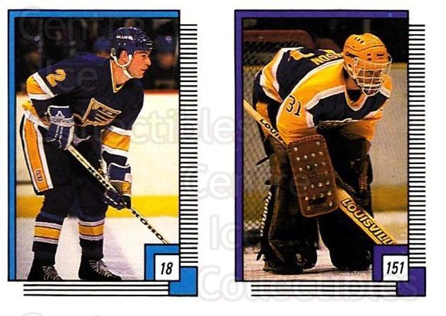 1988-89 O-pee-chee Stickers #018-151 Brian Benning, Rollie Melanson, Darren Pang<br/>5 In Stock - $2.00 each - <a href=https://centericecollectibles.foxycart.com/cart?name=1988-89%20O-pee-chee%20Stickers%20%23018-151%20Brian%20Benning,%20...&quantity_max=5&price=$2.00&code=248520 class=foxycart> Buy it now! </a>