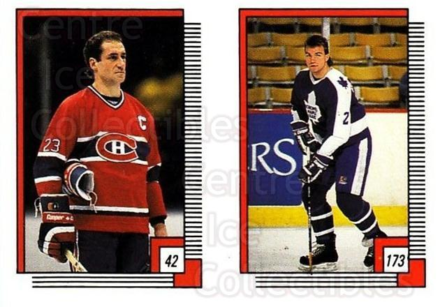 1988-89 O-pee-chee Stickers #042-173 Bob Gainey, Luke Richardson<br/>11 In Stock - $2.00 each - <a href=https://centericecollectibles.foxycart.com/cart?name=1988-89%20O-pee-chee%20Stickers%20%23042-173%20Bob%20Gainey,%20Luk...&quantity_max=11&price=$2.00&code=248544 class=foxycart> Buy it now! </a>