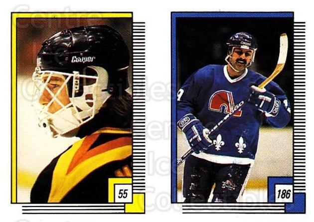 1988-89 O-pee-chee Stickers #055-186 Kirk McLean, Alain Cote<br/>2 In Stock - $2.00 each - <a href=https://centericecollectibles.foxycart.com/cart?name=1988-89%20O-pee-chee%20Stickers%20%23055-186%20Kirk%20McLean,%20Al...&quantity_max=2&price=$2.00&code=248557 class=foxycart> Buy it now! </a>