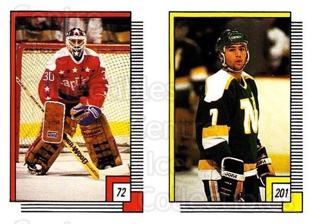 1988-89 O-pee-chee Stickers #072-201 Clint Malarchuk, Neal Broten<br/>5 In Stock - $2.00 each - <a href=https://centericecollectibles.foxycart.com/cart?name=1988-89%20O-pee-chee%20Stickers%20%23072-201%20Clint%20Malarchuk...&quantity_max=5&price=$2.00&code=248574 class=foxycart> Buy it now! </a>