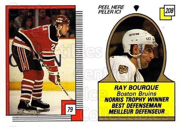 1988-89 O-pee-chee Stickers #079-208 Joe Cirella, Ray Bourque<br/>6 In Stock - $2.00 each - <a href=https://centericecollectibles.foxycart.com/cart?name=1988-89%20O-pee-chee%20Stickers%20%23079-208%20Joe%20Cirella,%20Ra...&quantity_max=6&price=$2.00&code=248581 class=foxycart> Buy it now! </a>