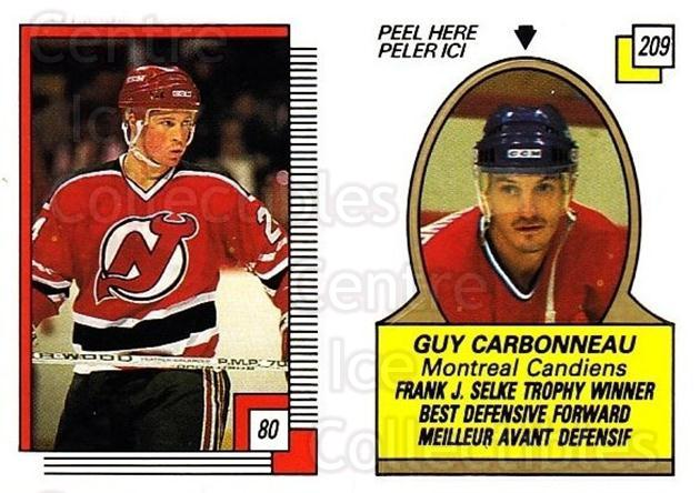 1988-89 O-pee-chee Stickers #080-209 Doug Brown, Guy Carbonneau<br/>10 In Stock - $2.00 each - <a href=https://centericecollectibles.foxycart.com/cart?name=1988-89%20O-pee-chee%20Stickers%20%23080-209%20Doug%20Brown,%20Guy...&quantity_max=10&price=$2.00&code=248582 class=foxycart> Buy it now! </a>
