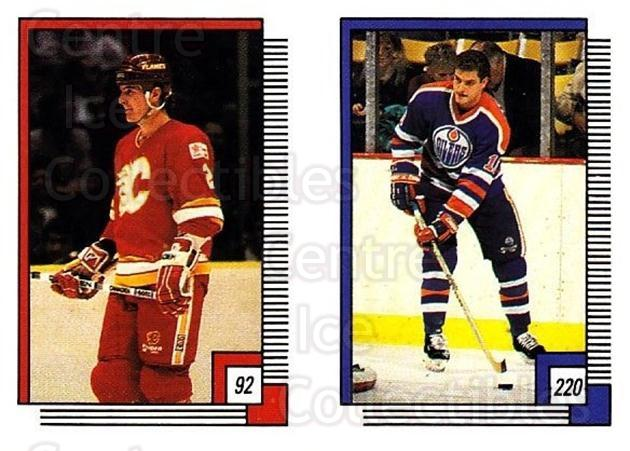 1988-89 O-pee-chee Stickers #092-220 Al Macinnis, Esa Tikkanen<br/>8 In Stock - $2.00 each - <a href=https://centericecollectibles.foxycart.com/cart?name=1988-89%20O-pee-chee%20Stickers%20%23092-220%20Al%20Macinnis,%20Es...&quantity_max=8&price=$2.00&code=248593 class=foxycart> Buy it now! </a>