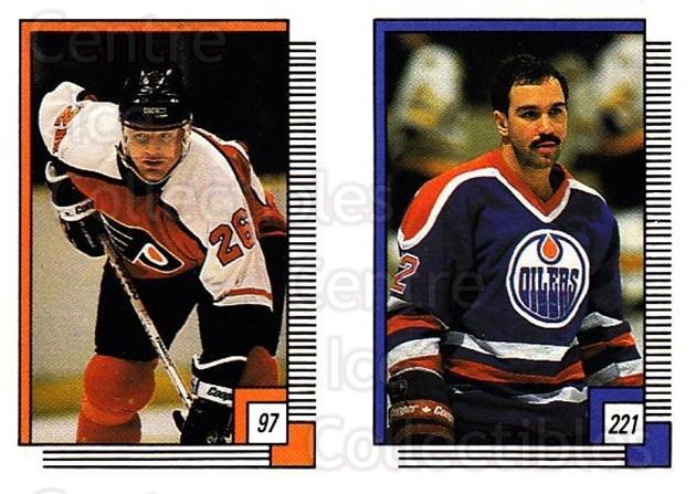 1988-89 O-pee-chee Stickers #097-221 Brian Propp, Charlie Huddy<br/>10 In Stock - $2.00 each - <a href=https://centericecollectibles.foxycart.com/cart?name=1988-89%20O-pee-chee%20Stickers%20%23097-221%20Brian%20Propp,%20Ch...&quantity_max=10&price=$2.00&code=248598 class=foxycart> Buy it now! </a>