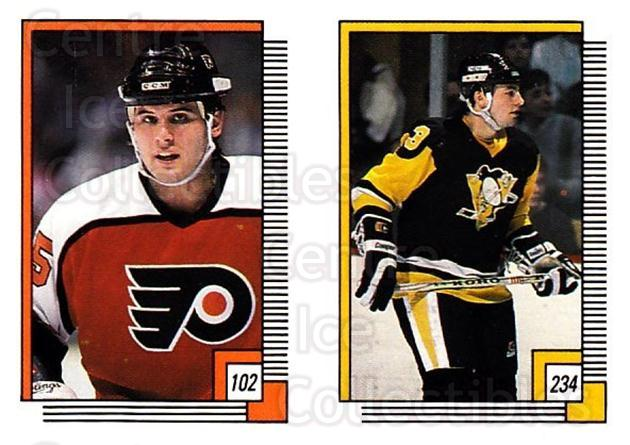 1988-89 O-pee-chee Stickers #102-234 Peter Zezel, Doug Bodger<br/>10 In Stock - $2.00 each - <a href=https://centericecollectibles.foxycart.com/cart?name=1988-89%20O-pee-chee%20Stickers%20%23102-234%20Peter%20Zezel,%20Do...&quantity_max=10&price=$2.00&code=248604 class=foxycart> Buy it now! </a>