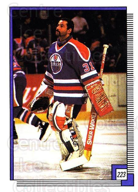1988-89 O-pee-chee Stickers #223-0 Grant Fuhr<br/>5 In Stock - $2.00 each - <a href=https://centericecollectibles.foxycart.com/cart?name=1988-89%20O-pee-chee%20Stickers%20%23223-0%20Grant%20Fuhr...&quantity_max=5&price=$2.00&code=248669 class=foxycart> Buy it now! </a>