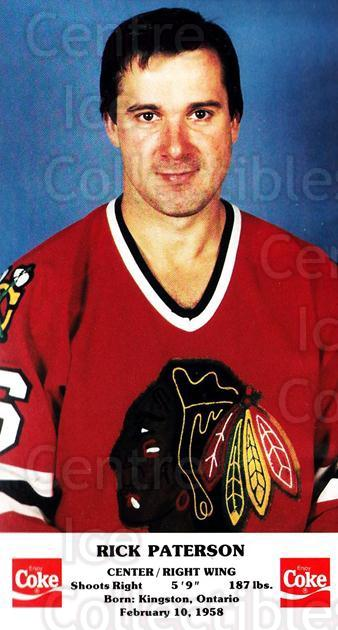 1986-87 Chicago Blackhawks Postcards Coke #14 Rick Paterson<br/>3 In Stock - $3.00 each - <a href=https://centericecollectibles.foxycart.com/cart?name=1986-87%20Chicago%20Blackhawks%20Postcards%20Coke%20%2314%20Rick%20Paterson...&quantity_max=3&price=$3.00&code=24993 class=foxycart> Buy it now! </a>
