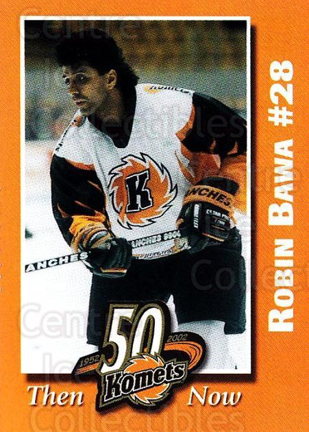 2001-02 Fort Wayne Komets Shoe Carnival #1 Robin Bawa<br/>3 In Stock - $3.00 each - <a href=https://centericecollectibles.foxycart.com/cart?name=2001-02%20Fort%20Wayne%20Komets%20Shoe%20Carnival%20%231%20Robin%20Bawa...&quantity_max=3&price=$3.00&code=250323 class=foxycart> Buy it now! </a>