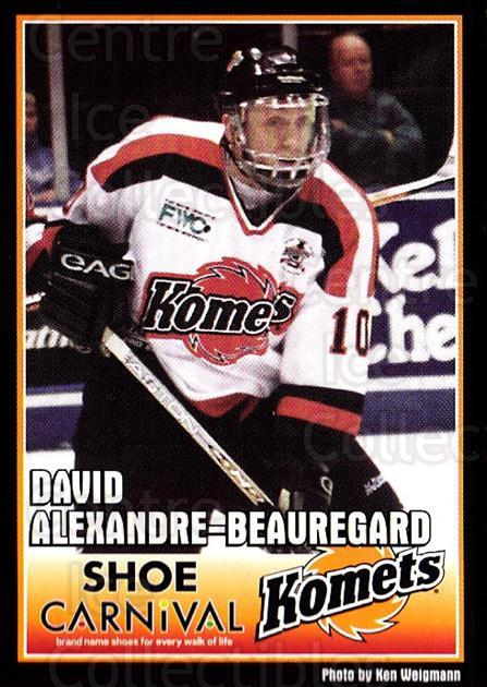 2003-04 Fort Wayne Komets Shoe Carnival #7 David-Alexandre Beauregard<br/>2 In Stock - $3.00 each - <a href=https://centericecollectibles.foxycart.com/cart?name=2003-04%20Fort%20Wayne%20Komets%20Shoe%20Carnival%20%237%20David-Alexandre...&quantity_max=2&price=$3.00&code=250361 class=foxycart> Buy it now! </a>