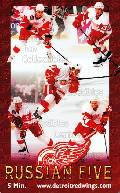 1996 Detroit Red Wings Phone Cards #3 Igor Larionov, Sergei Fedorov, Vyacheslav Kozlov, Vyacheslav Fetisov, Vladimir Konstantinov<br/>3 In Stock - $5.00 each - <a href=https://centericecollectibles.foxycart.com/cart?name=1996%20Detroit%20Red%20Wings%20Phone%20Cards%20%233%20Igor%20Larionov,%20...&quantity_max=3&price=$5.00&code=250429 class=foxycart> Buy it now! </a>
