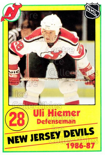 1986-87 New Jersey Devils Police #11 Uli Hiemer<br/>1 In Stock - $3.00 each - <a href=https://centericecollectibles.foxycart.com/cart?name=1986-87%20New%20Jersey%20Devils%20Police%20%2311%20Uli%20Hiemer...&quantity_max=1&price=$3.00&code=25050 class=foxycart> Buy it now! </a>