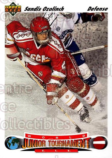 1991-92 Upper Deck #661 Sandis Ozolinsh<br/>4 In Stock - $1.00 each - <a href=https://centericecollectibles.foxycart.com/cart?name=1991-92%20Upper%20Deck%20%23661%20Sandis%20Ozolinsh...&quantity_max=4&price=$1.00&code=250566 class=foxycart> Buy it now! </a>