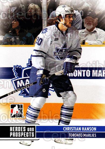 2009-10 ITG Heroes and Prospects #62 Christian Hanson<br/>21 In Stock - $1.00 each - <a href=https://centericecollectibles.foxycart.com/cart?name=2009-10%20ITG%20Heroes%20and%20Prospects%20%2362%20Christian%20Hanso...&price=$1.00&code=250646 class=foxycart> Buy it now! </a>