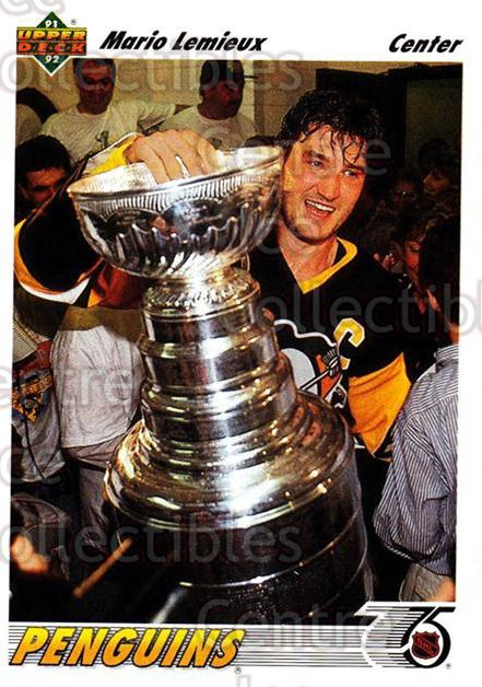 1991-92 Upper Deck #156 Mario Lemieux<br/>3 In Stock - $2.00 each - <a href=https://centericecollectibles.foxycart.com/cart?name=1991-92%20Upper%20Deck%20%23156%20Mario%20Lemieux...&price=$2.00&code=250843 class=foxycart> Buy it now! </a>