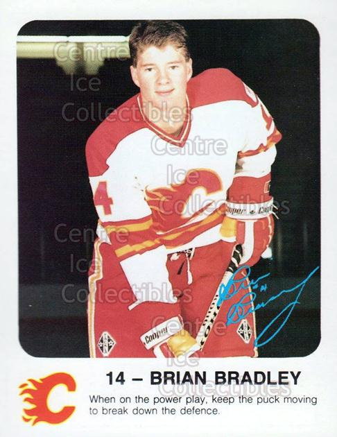 1986-87 Calgary Flames Red Rooster #4 Brian Bradley<br/>7 In Stock - $3.00 each - <a href=https://centericecollectibles.foxycart.com/cart?name=1986-87%20Calgary%20Flames%20Red%20Rooster%20%234%20Brian%20Bradley...&quantity_max=7&price=$3.00&code=25126 class=foxycart> Buy it now! </a>