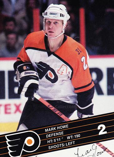1986-87 Philadelphia Flyers Postcards #13 Mark Howe<br/>3 In Stock - $3.00 each - <a href=https://centericecollectibles.foxycart.com/cart?name=1986-87%20Philadelphia%20Flyers%20Postcards%20%2313%20Mark%20Howe...&quantity_max=3&price=$3.00&code=25135 class=foxycart> Buy it now! </a>