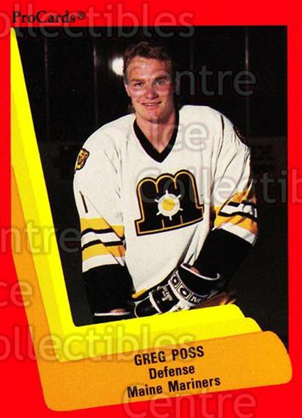 1990-91 ProCards AHL IHL #136 Greg Poss<br/>11 In Stock - $2.00 each - <a href=https://centericecollectibles.foxycart.com/cart?name=1990-91%20ProCards%20AHL%20IHL%20%23136%20Greg%20Poss...&price=$2.00&code=251460 class=foxycart> Buy it now! </a>