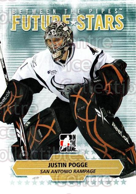 2009-10 Between The Pipes #18 Justin Pogge<br/>1 In Stock - $1.00 each - <a href=https://centericecollectibles.foxycart.com/cart?name=2009-10%20Between%20The%20Pipes%20%2318%20Justin%20Pogge...&price=$1.00&code=251537 class=foxycart> Buy it now! </a>