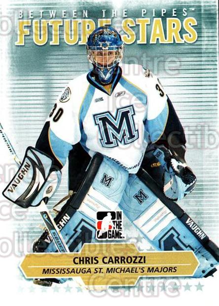 2009-10 Between The Pipes #62 Chris Carrozzi<br/>3 In Stock - $1.00 each - <a href=https://centericecollectibles.foxycart.com/cart?name=2009-10%20Between%20The%20Pipes%20%2362%20Chris%20Carrozzi...&price=$1.00&code=251581 class=foxycart> Buy it now! </a>