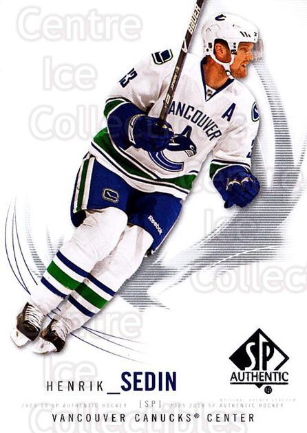 2009-10 SP Authentic #99 Henrik Sedin<br/>6 In Stock - $1.00 each - <a href=https://centericecollectibles.foxycart.com/cart?name=2009-10%20SP%20Authentic%20%2399%20Henrik%20Sedin...&quantity_max=6&price=$1.00&code=251768 class=foxycart> Buy it now! </a>