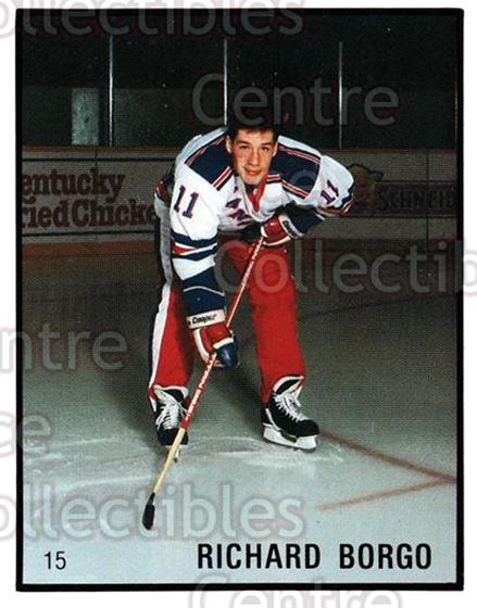 1986-87 Kitchener Rangers #15 Richard Borgo<br/>10 In Stock - $3.00 each - <a href=https://centericecollectibles.foxycart.com/cart?name=1986-87%20Kitchener%20Rangers%20%2315%20Richard%20Borgo...&price=$3.00&code=25194 class=foxycart> Buy it now! </a>