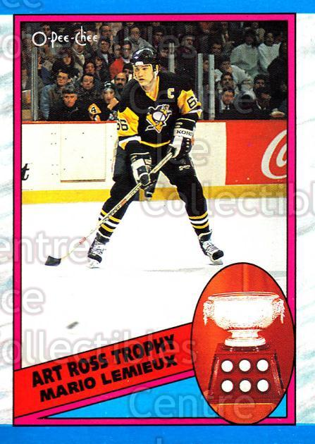 1989-90 O-Pee-Chee #319 Mario Lemieux, Art Ross Trophy<br/>7 In Stock - $2.00 each - <a href=https://centericecollectibles.foxycart.com/cart?name=1989-90%20O-Pee-Chee%20%23319%20Mario%20Lemieux,%20...&price=$2.00&code=252092 class=foxycart> Buy it now! </a>