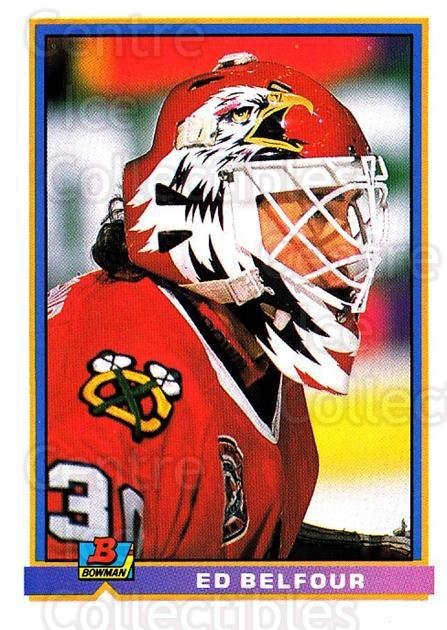 1991-92 Bowman #390 Ed Belfour<br/>1 In Stock - $1.00 each - <a href=https://centericecollectibles.foxycart.com/cart?name=1991-92%20Bowman%20%23390%20Ed%20Belfour...&price=$1.00&code=253004 class=foxycart> Buy it now! </a>
