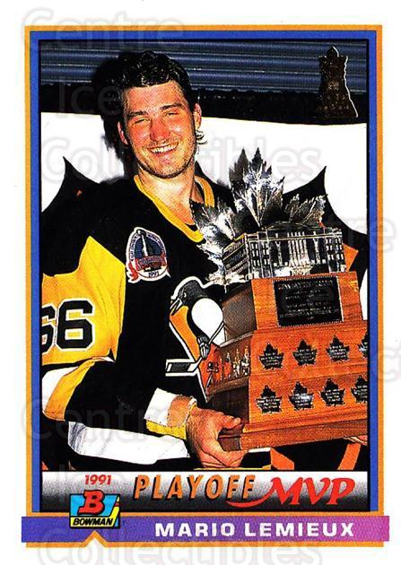 1991-92 Bowman #425 Mario Lemieux, Conn Smythe Trophy<br/>2 In Stock - $2.00 each - <a href=https://centericecollectibles.foxycart.com/cart?name=1991-92%20Bowman%20%23425%20Mario%20Lemieux,%20...&quantity_max=2&price=$2.00&code=253039 class=foxycart> Buy it now! </a>