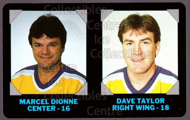 1985-86 7-Eleven Credit Cards 7-11 #8 Marcel Dionne, Dave Taylor<br/>8 In Stock - $3.00 each - <a href=https://centericecollectibles.foxycart.com/cart?name=1985-86%207-Eleven%20Credit%20Cards%207-11%20%238%20Marcel%20Dionne,%20...&quantity_max=8&price=$3.00&code=25347 class=foxycart> Buy it now! </a>