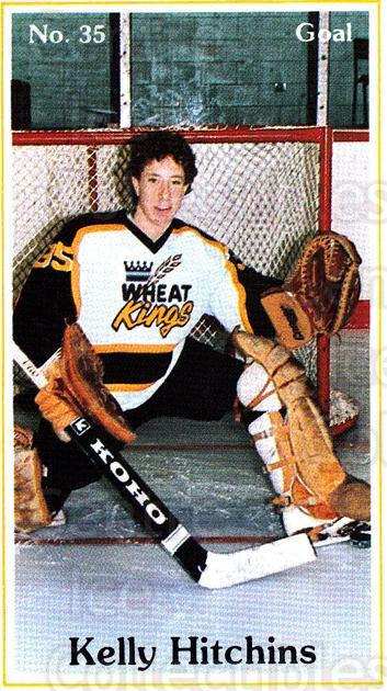 1985-86 Brandon Wheat Kings #1 Kelly Hitchins<br/>6 In Stock - $3.00 each - <a href=https://centericecollectibles.foxycart.com/cart?name=1985-86%20Brandon%20Wheat%20Kings%20%231%20Kelly%20Hitchins...&quantity_max=6&price=$3.00&code=25366 class=foxycart> Buy it now! </a>