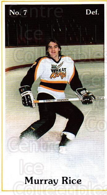 1985-86 Brandon Wheat Kings #10 Murray Rice<br/>7 In Stock - $3.00 each - <a href=https://centericecollectibles.foxycart.com/cart?name=1985-86%20Brandon%20Wheat%20Kings%20%2310%20Murray%20Rice...&quantity_max=7&price=$3.00&code=25367 class=foxycart> Buy it now! </a>