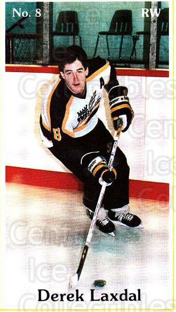 1985-86 Brandon Wheat Kings #11 Derek Laxdal<br/>7 In Stock - $3.00 each - <a href=https://centericecollectibles.foxycart.com/cart?name=1985-86%20Brandon%20Wheat%20Kings%20%2311%20Derek%20Laxdal...&quantity_max=7&price=$3.00&code=25368 class=foxycart> Buy it now! </a>