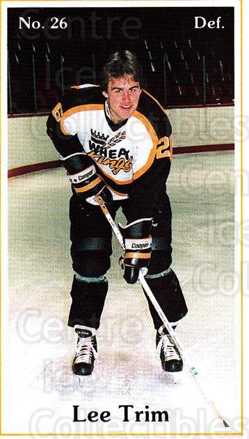 1985-86 Brandon Wheat Kings #13 Lee Trim<br/>7 In Stock - $3.00 each - <a href=https://centericecollectibles.foxycart.com/cart?name=1985-86%20Brandon%20Wheat%20Kings%20%2313%20Lee%20Trim...&quantity_max=7&price=$3.00&code=25369 class=foxycart> Buy it now! </a>
