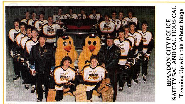 1985-86 Brandon Wheat Kings #17 Brandon Wheat Kings, Team Photo<br/>6 In Stock - $2.00 each - <a href=https://centericecollectibles.foxycart.com/cart?name=1985-86%20Brandon%20Wheat%20Kings%20%2317%20Brandon%20Wheat%20K...&price=$2.00&code=25372 class=foxycart> Buy it now! </a>