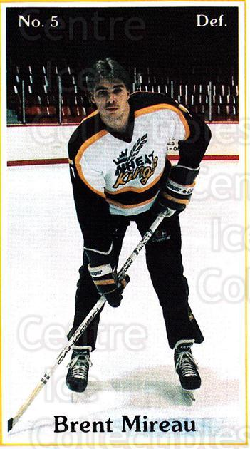 1985-86 Brandon Wheat Kings #2 Brent Mireau<br/>7 In Stock - $3.00 each - <a href=https://centericecollectibles.foxycart.com/cart?name=1985-86%20Brandon%20Wheat%20Kings%20%232%20Brent%20Mireau...&quantity_max=7&price=$3.00&code=25375 class=foxycart> Buy it now! </a>