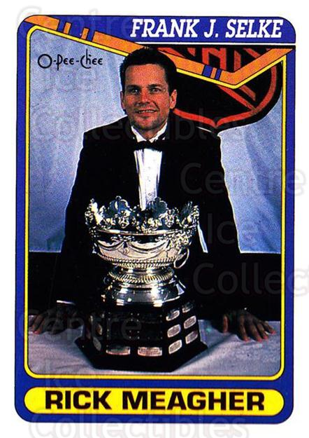 1990-91 O-Pee-Chee #488 Rick Meagher, Selke Trophy<br/>7 In Stock - $1.00 each - <a href=https://centericecollectibles.foxycart.com/cart?name=1990-91%20O-Pee-Chee%20%23488%20Rick%20Meagher,%20S...&quantity_max=7&price=$1.00&code=253927 class=foxycart> Buy it now! </a>