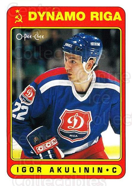 1990-91 O-Pee-Chee #491 Igor Akulinin<br/>4 In Stock - $1.00 each - <a href=https://centericecollectibles.foxycart.com/cart?name=1990-91%20O-Pee-Chee%20%23491%20Igor%20Akulinin...&quantity_max=4&price=$1.00&code=253930 class=foxycart> Buy it now! </a>